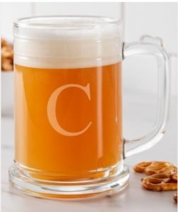 clear initial beer glass