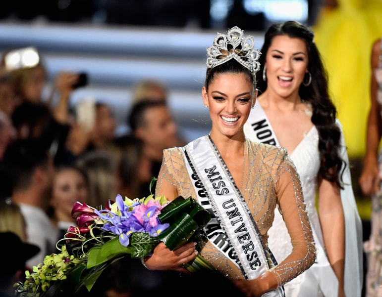 LAS VEGAS, NV - NOVEMBER 26:  Miss South Africa 2017 Demi-Leigh Nel-Peters (L) reacts after being named the 2017 Miss Universe during the 2017 Miss Universe Pageant at The Axis at Planet Hollywood Resort & Casino on November 26, 2017 in Las Vegas, Nevada.  (Photo by Frazer Harrison/Getty Images)