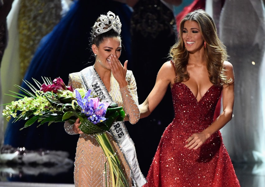 LAS VEGAS, NV - NOVEMBER 26:  Miss South Africa 2017 Demi-Leigh Nel-Peters reacts as she is crowned the new Miss Universe 2017 by Miss Universe 2016 Iris Mittenaere during the 2017 Miss Universe Pageant at The Axis at Planet Hollywood Resort & Casino on November 26, 2017 in Las Vegas, Nevada.  (Photo by Frazer Harrison/Getty Images)