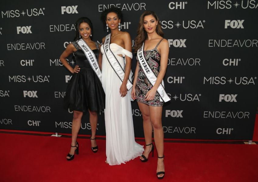 SHREVEPORT, LA - MAY 21:  Miss Teen USA 2018 Hailey Colborn, Miss USA 2017 Kara McCullough and Miss Universe 2017 Demi-Leigh Nel-Peters pose for photos the red carpet at the Shreveport Convention Center prior to the 2018 Miss USA on May 21, 2018 in Shreveport, Louisiana.  (Photo by Matt Sullivan/Getty Images)